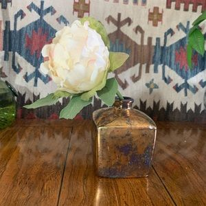 Vintage painted mercury glass look MCM cube vase